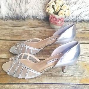 Nina Silver Kitten Heels Size 8 NWOT
